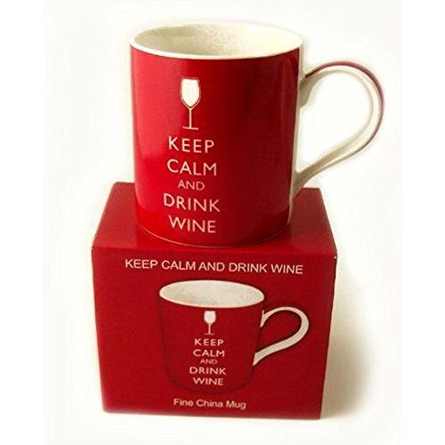 Taza de Porcelana Fina con 'Keep Calm and Drink Wine' - En Caja