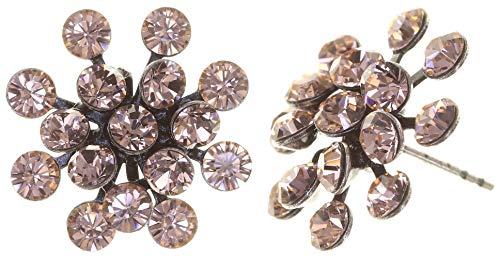 KONPLOTT Magic Fireball Classic Ohrstecker für Damen | Exklusive Designer-Ohrringe mit 32 Swarovski Steinen | Glamouröser Ohrschmuck passend zu jedem Anlass | Handgefertigter Damen-Schmuck | Rosa