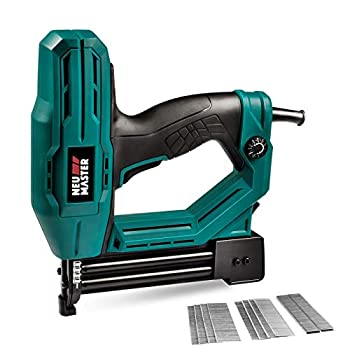 Electric Brad Nailer NEU MASTER NTC0040 Electric Nail Gun/Staple Gun for Upholstery Carpentry and Woodworking Projects 1/4   Narrow Crown Staples 200pcs and Nails 800pcs Included