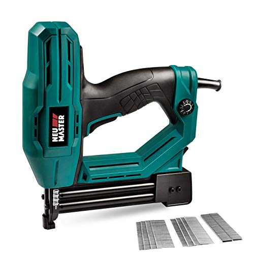 Electric Brad Nailer, NEU MASTER NTC0040 Electric Nail Gun/Staple Gun for Upholstery, Carpentry and Woodworking Projects, 3/4'' Narrow Crown Staples 200pcs and Nails 800pcs Included
