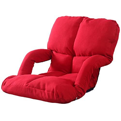 Sofá de Piso con reposabrazos, sofá Perezoso Plegable Multifuncional, Respaldo Ajustable, Cama para Dormir Perezosa, para sofá Cama/Silla/de Reposo/Lectura,Rojo