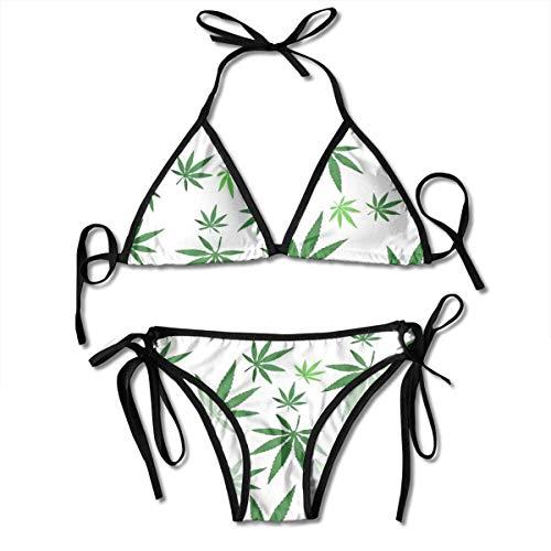 Damen Bikini Set Marihuana Weed Green Sommer Zweiteiliger Badeanzug mit Bandage Halfter Badeanzug