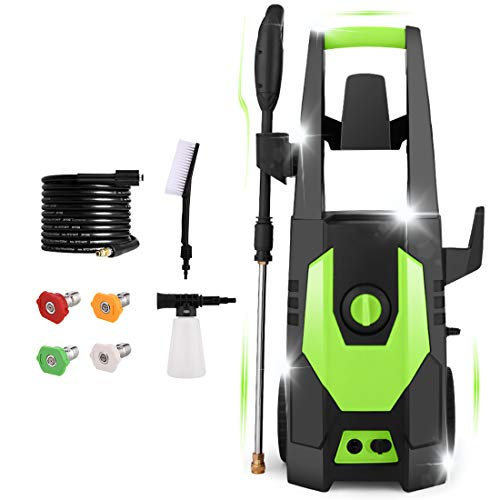 mrliance 3500PSI Pressure Washer, Car Electric Pressure Washer High Power Washer Cleaner Machine with Hose Reel, Brush,1800W, 2.0GPM, 4 Nozzles for Patio Garden Fences Vehicle (Green)