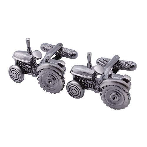 XKSWZD Gemelos de Estilo Personalizado Maquinaria agrícola Tractor anticuado Gemelos Negros para puños/Camisas Joyas para Hombres