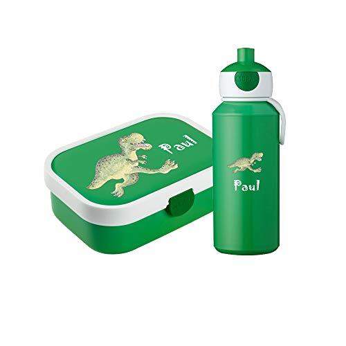 4you Design Grünes Set ✶Brotdose & Trinkflasche Dino oder Fußballer Motiv + Dein Name✶ Mepal Campus + Bento Box & Gabel ✶Pop-up Flasche (Dino)