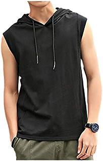[アンリ] 【夏物大処分、在庫限り!】ノースリーブパーカー 夏服 プルオーバー 無地 フード付き ストリート M ~ XL メンズ