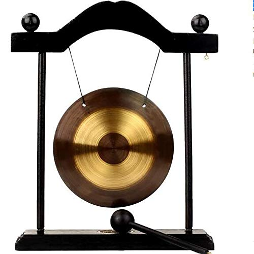 Zen Chinese Table Gongs, Musically Tuned Chime Desk Gong Detachable Design Bell with Black...