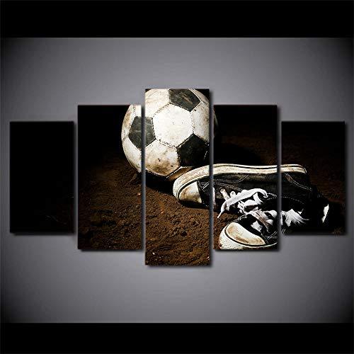 SESHA HD Impreso 5 Piezas Lienzo Arte Zapatos De Fútbol Pintura Cuadros De Pared Pintura Modular Decoración del Hogar(Sin Marco)