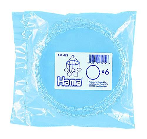 Hama Perlen 492 Mobile Ring mit Durchmesser 18 cm für Motive aus Bügelperlen, 6 Stück in transparent, Zubehör, kreativer Bastelspaß für Groß und Klein