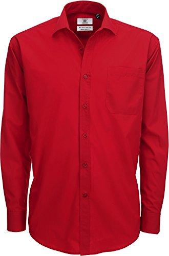 B&C Mens Smart Long Sleeve Poplin Shirt Camisa de Oficina, Rojo (Deep Red 000), 17 (Talla del Fabricante: X-Large) para Hombre
