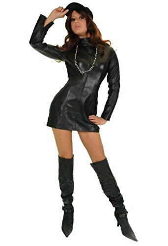 Erogance Echter Lamm Nappa Leder Kleider Gothic Domina mit Langarm, schwarz Gr. 40 Modell S88