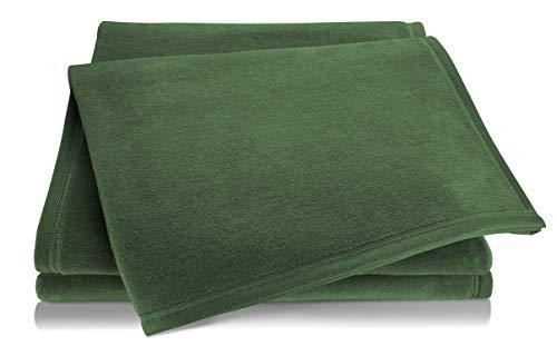 biederlack® Flauschige Kuschel-Decke Pure Cotton I Made in Germany I Öko-Tex Standard 100 I Wohn-Decke aus 100prozent Baumwolle in dunkelgrün I Couch-Decke 150x200 cm   nachhaltig produziert