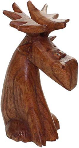 budawi-Deko & Schönes Elch sitzend aus Holz ca. 13 cm hoch, Elchfigur Elch Figur Skulptur Holzfigur