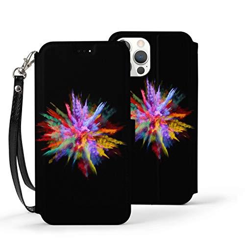 Ip12 Pro-6.1 Funda de cuero Flip Teléfono Billetera Cubierta a prueba de golpes Color Explosión Protectora Con Ranura para Tarjeta Soporte Kickstand