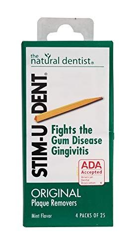 Stim-U-Dent Plaque Removers 6 Packs of 4x25 Picks/Pack (600 Picks) - Mint Flavor (Pack of 6)