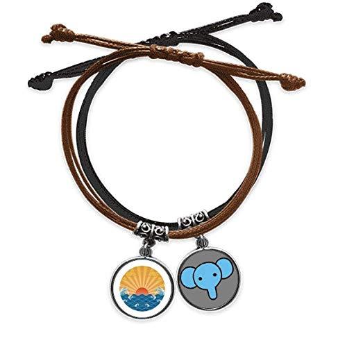 Beauty Gift Nube de sol agua mar patrón pulsera cuerda mano cadena cuero elefante pulsera