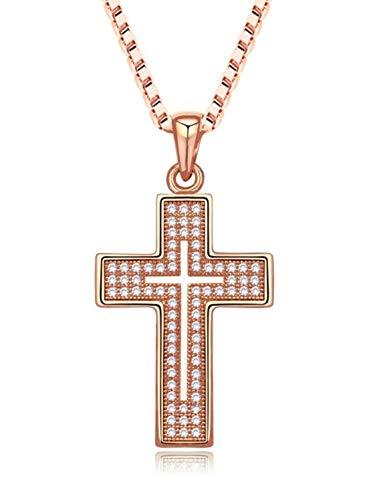 QuadivaCollana unisex con croce, collana con ciondolo a forma di croce (colore: oro rosa), incastonata con zirconi