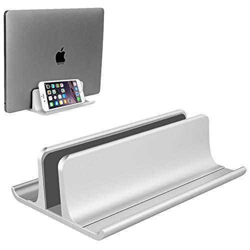 VAYDEER Vertikaler Laptopständer Halter Einstellbarer Desktop Notebook Dock Platzsparend 3 in 1 für alle MacBook Pro Air, Mac, HP, Dell, Microsoft Surface, Lenovo, Laptop bis zu 17,3 Zoll - Silber