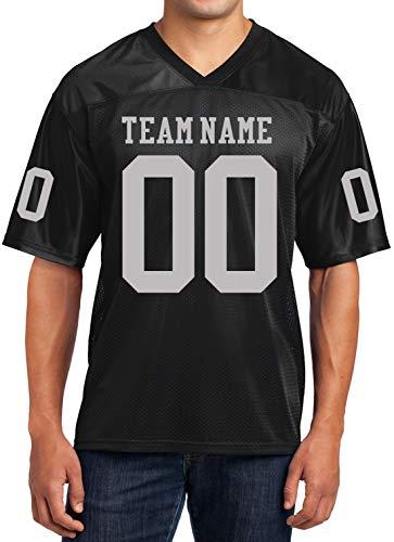 Custom Football Replica Team Jersey (XX-Large, Black - Grey Font)