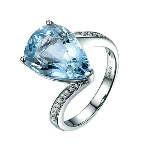 Aeici Weißgold Ring Karat Ring Damen Jahrestag Mit 4.58ct Aquamarin Und 0.12ct Diamants Silber Blau Hochzeitsringe Verlobungsringe Größe 56 (17.8)