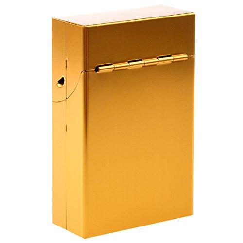 Cobeky magnético tamaño rey metal aluminio bolsillo cigarrillo tabaco caja titular - oro amarillo