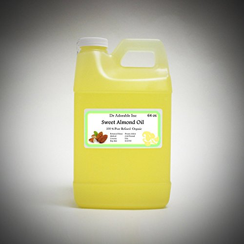 Sweet Almond Oil Organic Pure Cold Pressed by Dr.Adorable 64 Oz/2 Quarters