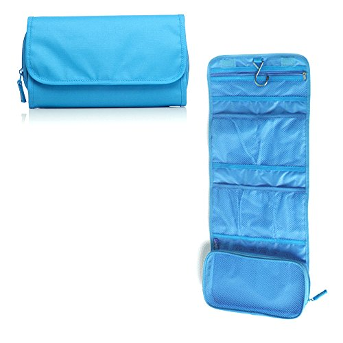 Travelmall Travel Organizer Toiletry Bag Cosmetic Bag Pouch Handbag for Women Makeup Men Shaving Kit with Hook Hanging Blue Photo #4