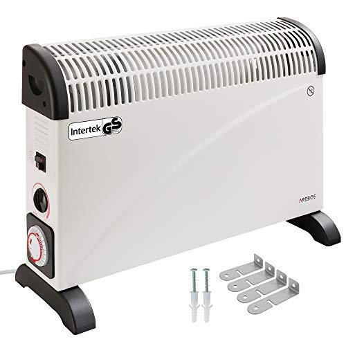 Arebos elektrische Konvektor Heizung / 2000 Watt/Thermostat/Frostwächter-Funktion/Mit Standfüßen oder zur Wandmontage/GS geprüft von Intertek (Mit Zeitschaltuhr)