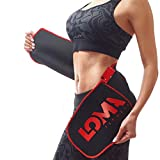 LOMA XX L Waist Trainer for Women and Men -Waist Trainer for Weight Loss - Six-Pack Abs Sweat Belt - Waist Trimmer Stomach Wrap - Bonus HOT Gel 20 mg & Meal Plan Black