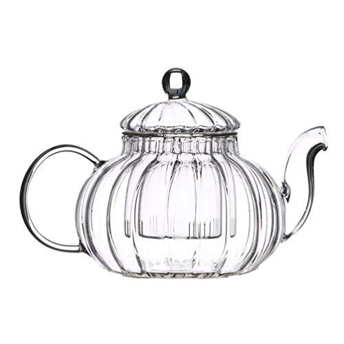 UPKOCH - Tetera de cristal con infusor extraíble, tetera de cristal con hervidor de té resistente al calor