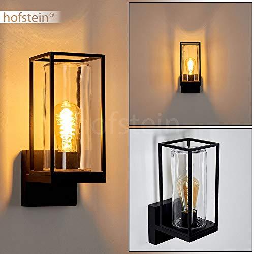 Außenwandlampe Palanga, Wandlampe aus Metall/Glas in Schwarz, 1-flammig, 1 x E27 max. 40 Watt, klassische Außenwandleuchte mit Lichteffekt für Terrasse, Garten und Fassaden im Industrial-Style