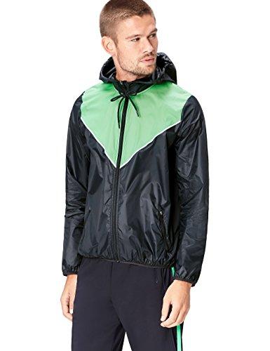 Activewear Giacca a Vento con Cappuccio Uomo, Schwarz (Black/Apple Green), Medium