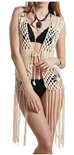 Ärmellose lange Fransen Häkelweste Strand Bikini Cover Up Hippie Kleidung für Frauen freie Größe Sommer Beachwear - Beige - Einheitsgröße
