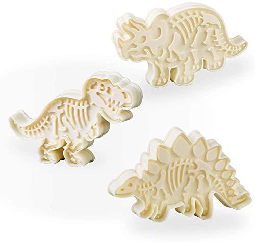 mciskin Dinosaurier Ausstechformen Set - 6 Stücke Acryl Ausstecher mit Stempel für Kuchen Backen und Fondant - Dinosaurier Form Backformen Set für Plätzchen - Keksstempel für Kinder