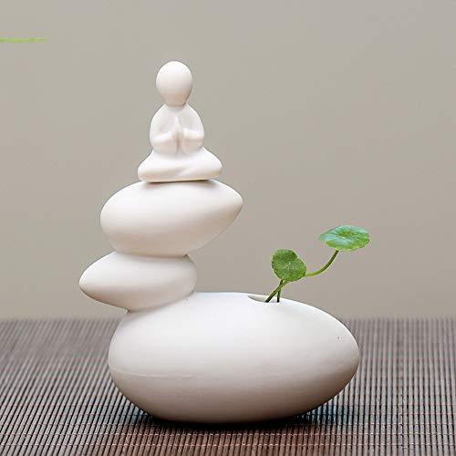 Creative Simple Ceramic no Phase Buddha Figure Monk hydroponic Flower Arrangement Device Home Office Desktop Small Ornaments (01)