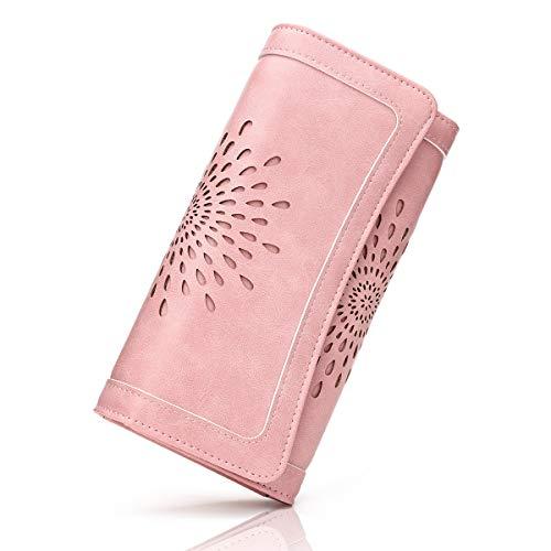 Damen Vintage Geldbörse PU-Leder Portemonnaie RFID Schutz Geldbeutel Damen Lang Portmonee Gross Damen Portmonee mit Knopf (PINK-FBA)
