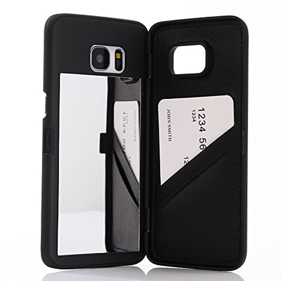 Galaxy S7 Edge case,Wetben Hidden Back Mirror Wallet Case with Stand Feature and Card Holder for Samsung Galaxy S7 Edge G9350 (Black)
