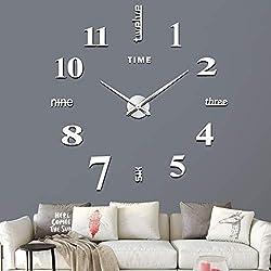 VREAONE Frameless DIY Wall Clock,Large Modern 3D Mirror Wall Clock Decor Sticker DIY Clock kit for Home Living Room Bedroom Office Decoration(WL03-Sliver)