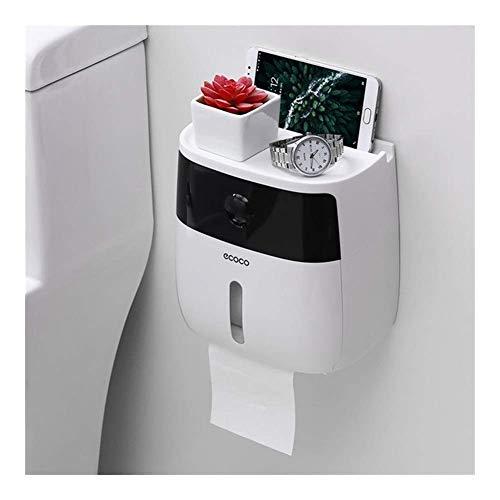 JSMY Soporte de Papel higiénico Impermeable para Papel higiénico Soporte de Toalla Dispensador de baño Caja de Almacenamiento Soporte de Rollo de Papel higiénico Montado en la Pared (Color:Negro)