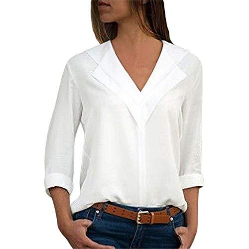 Chemise Femme Chemisier Mousseline de Soie T-Shirt Solide Tunique Femme Chic Manches Longues Tops Blouse Casual Pull Haut Col V (Blanc, XL)