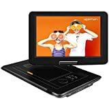 APEMAN 17.5'' Portable DVD Player with 15.6'' HD Large Swivel Screen, 6 hours Rechargeable Battery, Support USB/SD Card/TV/External Speaker, Region Free for Kids/Parent, Long Car Travel/Home/Hospital