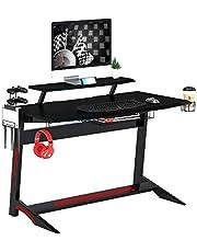 Mahmayi Engineered Wood Ultimate Modern Gaming Table, GT008-Gm-Tble, Black, H89 x W135.5 x D65.5 cm