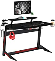Mahmayi Engineered Wood Ultimate Modern Gaming Table, GT008-Gm-Tble, Black, H89 x W135.5 x D65.5 cm