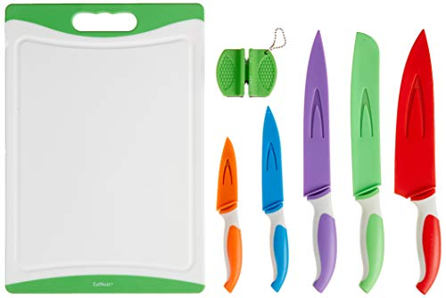 EatNeat 12-Piece Colored Sharp Knife Set: 5 Stainless Steel Kitchen Knives with Covers, Cutting Board and Sharpener