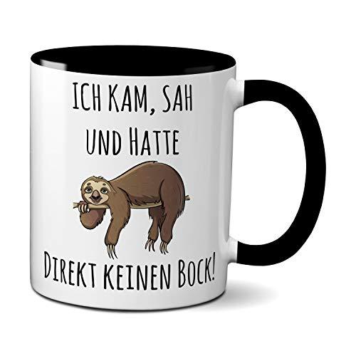 Tasse mit Spruch ICH KAM, SAH UND HATTE DIREKT KEINEN BOCK! - Geschenk für Kollegin, Chef, Chefin Sprüche Tassen schwarz lustig