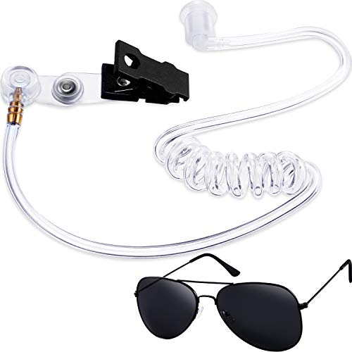 Gejoy 2 Pieces Playing Cosplay Includes Earpiece Earplugs Acoustic Tube Headset and Sunglasses (Black Glasses Frame)