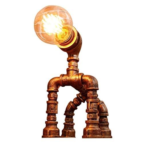 WCJ tafellampen jaargang industriële smeedijzer-metaal E27 waterpijp tafellampen Loft Bedside-slaapkamerlamp rustieke steampunk bureau Accent lampen voor Cafe Bar