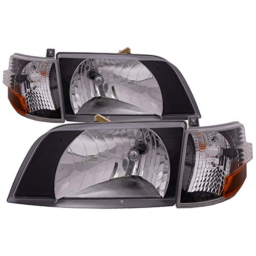 HEADLIGHTSDEPOT Black Diamond Bezel Housing Headlights with Signal Marker Light Compatible with Volvo VNL 1996-2017 Includes Left Driver and Right Passenger Side Headlamps