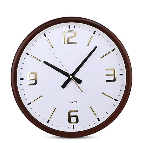 QFW Silent Round Clock Living Room Study Stereo Digital Environmental Protection Material Home Wall Clock 16 Inch M/20-04-27 (Color : Brown)