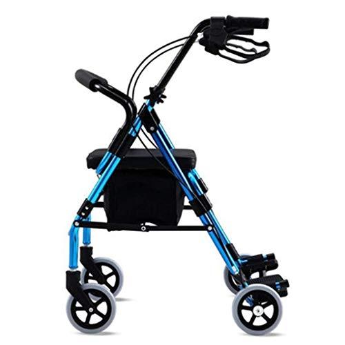 Walker per anziani a quattro ruote con pedale, freni chiudibili, impugnature regolabili in altezza, comode e pieghevoli, a quattro ruote con borsa di spedizione, supporto per la mobilità durevole